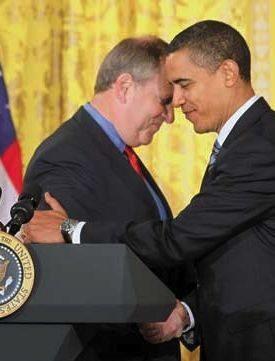 Barack Obama and Honeywell CEO David Cote.