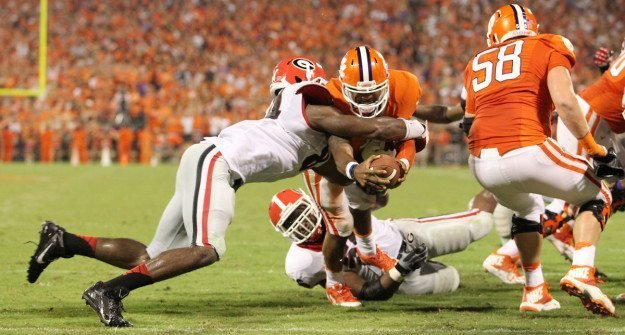 Tajh Boyd dives for the end zone during the first half of Clemson's 35-31 win over Georgia. (Travis Bell Photography)