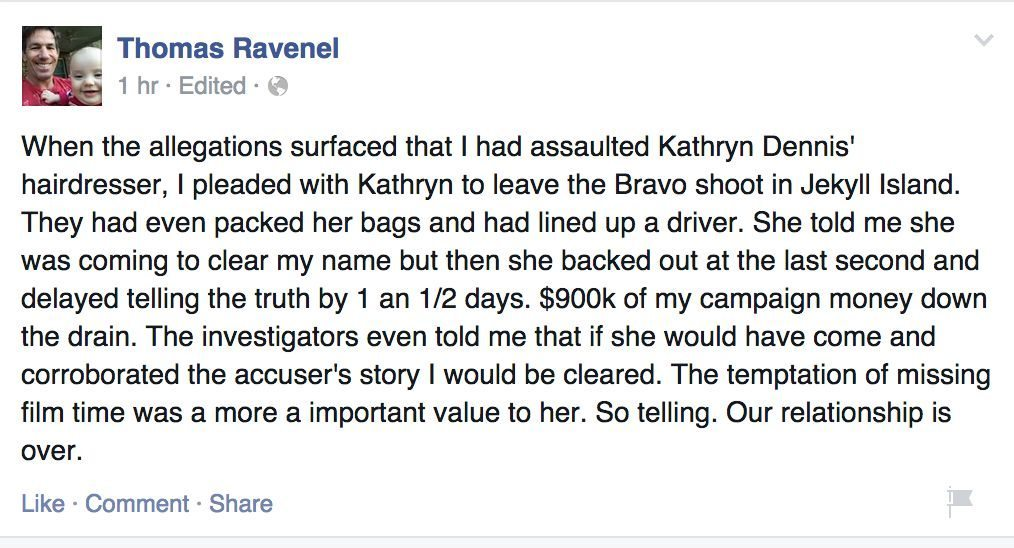 """Thomas Ravenel: Relationship With Kathryn Dennis """"Over ..."""