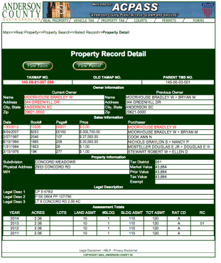 2933 Concord Road Tax Record