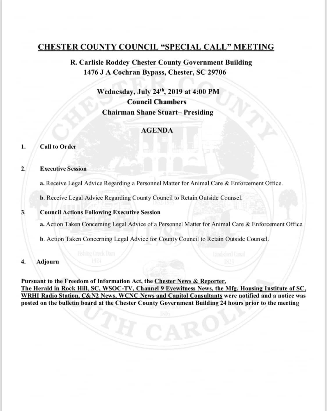 Chester County SC To Address Controversy At Council Meeting